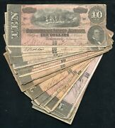 25 1864 10 Ten Dollars Csa Confederate States Of America Currency Notes B