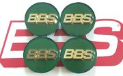 Bbs Green 3-d Gold Logo 56mm Center Caps 56.24.012 For Subaru And Mitsubishi