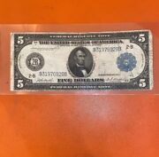 Large 1914 5 2b Block Dollar Bill Federal Reserve Bank Note Currency Old Paper