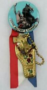 1950s Gene Autry And Champ 1 3/4 Pinback Button W/ Ribbon And Gun Holster Charm