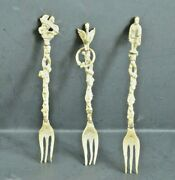 Vintage Set Of 3 Montagnani Like Brass Forks - 4-1/2 - From Italy