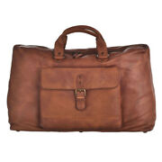 Mens Ladies Large Soft Real Leather Weekend Sports Travel Duffel Bag Holdall