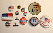 Vintage American Flag And Political Campaign Button Pin Badges Lot