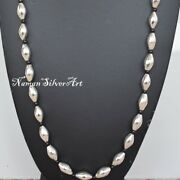 Heavy Long Pure 925 Sterling Silver Handmade Necklace Nk337