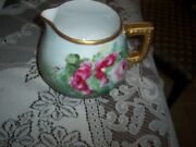 Hand Painted Pink Roses Cider Pitcher