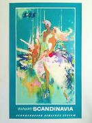 Sas Airlines Rare 1960 Mcm Lithograph Print Otto Nielsen Collector Travel Poster