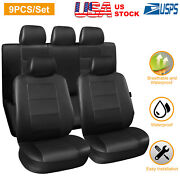 Complete Pu Leather Car Seat Covers Set Black For Car Suv Truck Universal