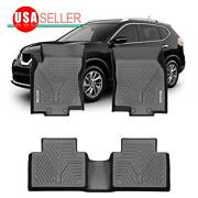 Floor Mats For 2014-2020 Nissan Rogue All Weather Tpe Heavy Duty 3pcs Full Set