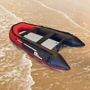 Aleko Inflatable Fishing Rafting Boat With Air Deck Floor 10.5 Ft Red And Black