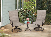 Patio Dining Set 3 Piece Indoor Outdoor Patio Furniture Set W Swivel Chairs Bbq