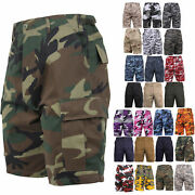 Army Cargo Bdu Combat Shorts Button Fly Camouflage And Solid Military Rothco