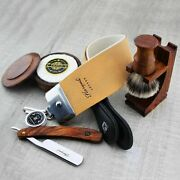 Wet Shave Set Leather Strop Paste Shaving Soap Brush Stand And Straight Cut Razor