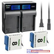 Kastar Battery Lcd Rapid Charger For Gopro Ahdbt-801 Hero 8 And Gopro Hero8 Black
