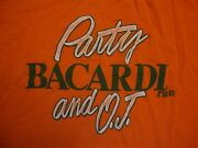 Vintage 80's Party Bacardi Rum And O.j. Drinks Alcohol Orange T Shirt Size S