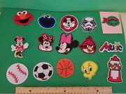 15 Iron On Patch Lot-minnie , Mickey, Elmo, Cookie, Star Wars , Angry Bird, More
