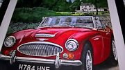 Original Classic Car Painting In Gloss Black Frame Signed- Fabulous