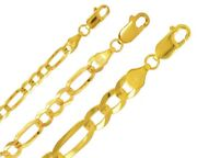 Figaro Chain 14k Solid Gold 3-9mm Men Women Light Concave Necklace Chain 16-26