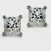 Enhanced Solitaire Diamond Stud Earrings 3 Ct Princess Cut 18k White Gold