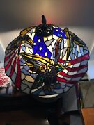 Stained Glass Table Lamp Raised Eagle American Flag Gorgeous