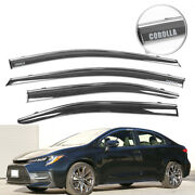 Fit 20 Toyota Corolla Sedan Window Visor Polycarbonate Deflector W/ Chrome Trim