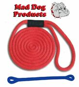 Mad Dog Red Solid Braid Nylon Dock Line W/ Blue Snubber - 5/8 X 25and039 Dock Line