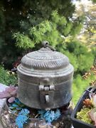 Antique Primitive Large Hammered Copper Metal Pot Kettle Container With Handle