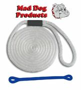 Mad Dog White Solid Braid Nylon Dock Line W/ Blue Snubber - 1/2 X 20and039 Dock Line