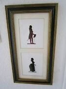 Vintage Colonial/victorian Couple Silhouette Picture Matted And Framed