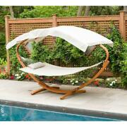 Hammock Stand 6.5 Ft. Wooden Fabric Canopy Weather Resistant Art Deco Brown