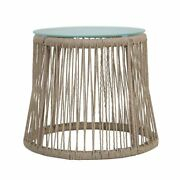 Boho Chic Natural Color Round Rope Outdoor Patio Side Table With Glass Top