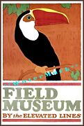Chicago 1924 Field Museum Elevated Lines Toucan Vintage Poster Retro Style Art