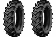 Two 5.00-12 R-1 Lug Compact-tractor Tires Heavy Duty 6 Ply Rated W Tubes K-9