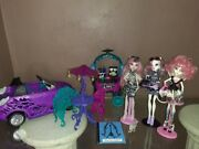 Monster High Dolls 3 Doll Lot With Car And Scaris City Of Frights Accessories