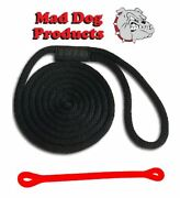 Mad Dog Black Solid Braid Nylon Dock Line W/ Red Snubber - 5/8 X 25and039 Dock Line