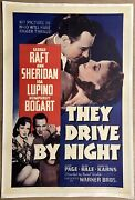 They Drive By Night Warner Brothers 1940. Original One Sheet Movie Poster