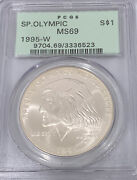 1995 W Special Olympic 1 Silver Dollar Pcgs Ms69 Rare West Point Coin 3336523