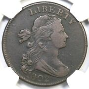 1802 S-240 R-3 Ngc Vf 25 Draped Bust Large Cent Coin 1c