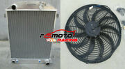 62mm Aluminum Radiator + Fan For 1932 Ford Hi-boy Chevy Engine V8 Grill Shell At