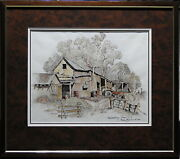 Cedric Emanuel 1906-95 Original Painting Hawkesbury Farm Sheds And Tractor Nsw