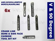 6x 9 Mm Dia Engine Main Line Bore And Side Face Carbide Tool Bit Kit V And 90 Deg Fc