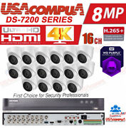 Hikvision Cctv Security System Kit 4k-uhd Cameras 5mp Outdoor Dome Purple Hdd