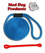 Mad Dog Blue Solid Braid Nylon Dock Line W/ Red Snubber - 5/8 X 15and039 Dock Line