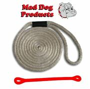 Mad Dog Silver Solid Braid Nylon Dock Line W/ Red Snubber - 5/8 X 30and039 Dock Line
