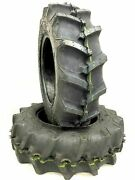 Two 5-12 R-1 Lug Compact Tractor Tires Heavy Duty 6 Ply 5.00-12 W Tubes K-9