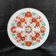 16 Round Marble Serving Plate Marquetry Hakik Antique Floral Inlaid Home Decor