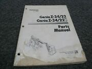 Genie Z-34/22 And Z-34/22n Articulated Boom Lift Parts Catalog Manual