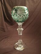 Green Cut To Clear Candle Holder 24 Lead Crystal Made In Poland