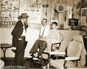 Vintage 1950's Barber Shop Old Time Barber Young Boy In Chair Clocks Hair Tonic