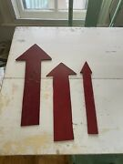 Set Of 3 Old Vintage Wooden Red Painted Arrows Signs From A Strawberry Farm Fun
