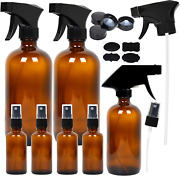 7 Amber Glass Spray Bottles 2 ,16 Oz Empty 1, 8 Ounce And 4 For Essential Oils